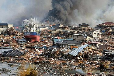 Aftermath of earthquake and tsunami in Japan, 2011.