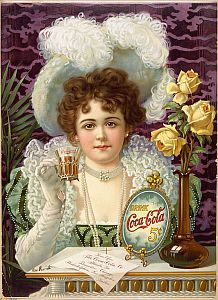 An 1890s advertising poster showing a woman in fancy clothes drinking Coke.