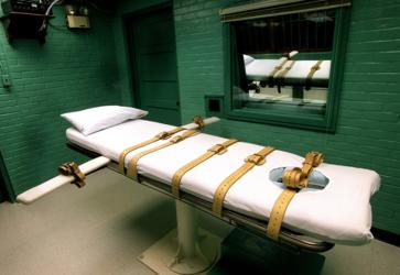 The execution room in Huntsville, Texas, as seen in 2002.