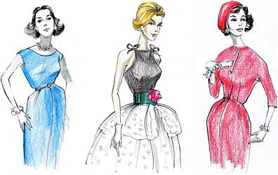 Fashion Illustration, 1950s.