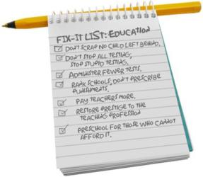 Fix-it list for education.