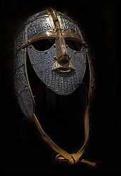 Replica of the helmet found at Sutton Hoo, in the burial of an Anglo-Saxon leader, probably a king, about 620 in the Early Middle Ages.