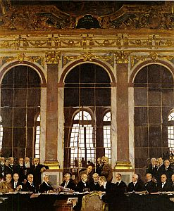 The Signing of Peace in the Hall of Mirrors, Versailles.
