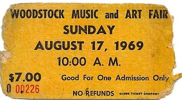 Ticket to Woodstock Music & Art Fair.