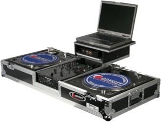 Turntables, DJ Mixer and Laptop