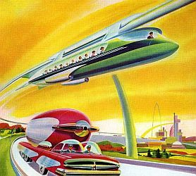 Vintage futuristic depiction of monorail transport.