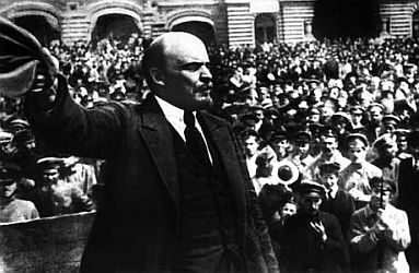 Vladimir Ilyich Lenin addresses soldiers in Moscow.